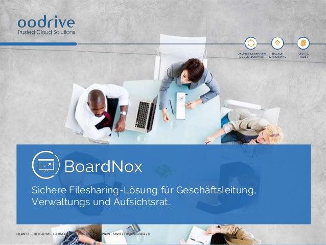 FRANCE – BELGIUM – GERMANY– HONG-KONG - SPAIN– SWITZERLAND-BRAZIL Sichere Filesharing-Lösung für Geschäftsleitung, Verwalt...