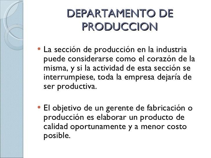 Departamento de produccion for Origen y definicion de oficina