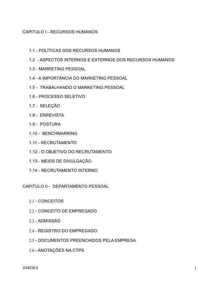 CAPITULO I - RECURSOS HUMANOS  1.1 - POLÍTICAS DOS RECURSOS HUMANOS  1.2 - ASPECTOS INTERNOS E EXTERNOS DOS RECURSOS HUMAN...