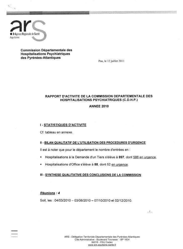=:;::tr  Commission Départementale des  Hospitalisations Psychiatriques  des Pyrénées-Atlantiques                         ...