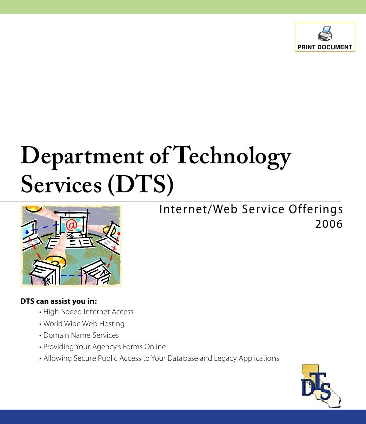 PRINT DOCUMENT     Department of Technology Services (DTS)                                          Internet/Web Ser vice ...