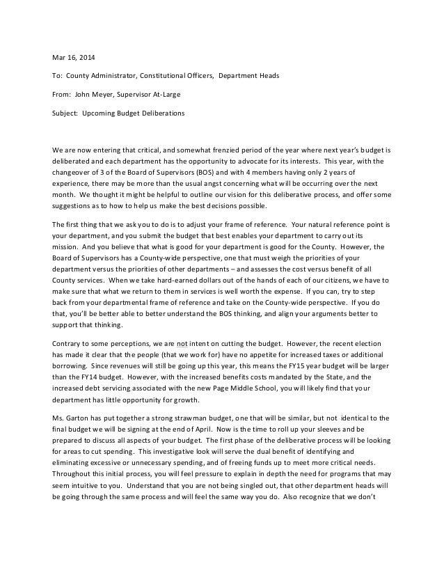 Department Head Budget memo[1], Gloucester, VA