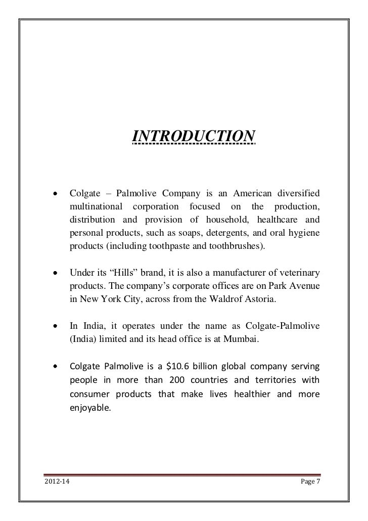 a history of the colgate palmolive company Colgate-palmolive is a consumer product company it is an american multinational company the company produces and markets personal care products involving oral hygiene, detergents, and.