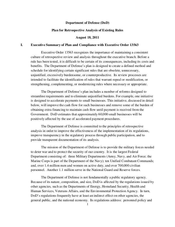 DOD Regulatory Reform Plan August 2011