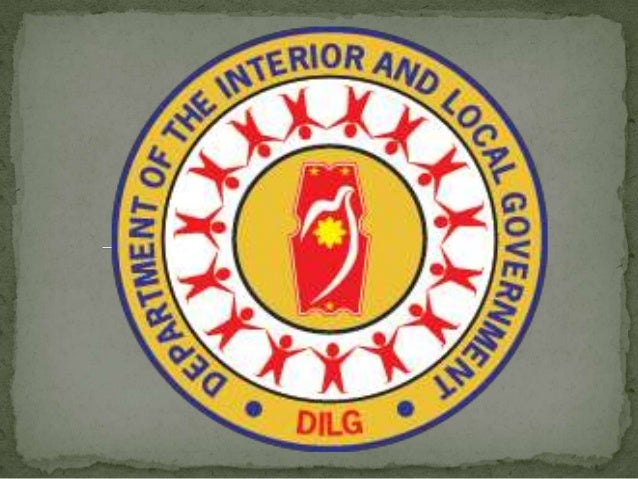  The Department of the Interior and Local Government (DILG) seal/logo shows a sun draped by a dove-shaped flag, to symbol...