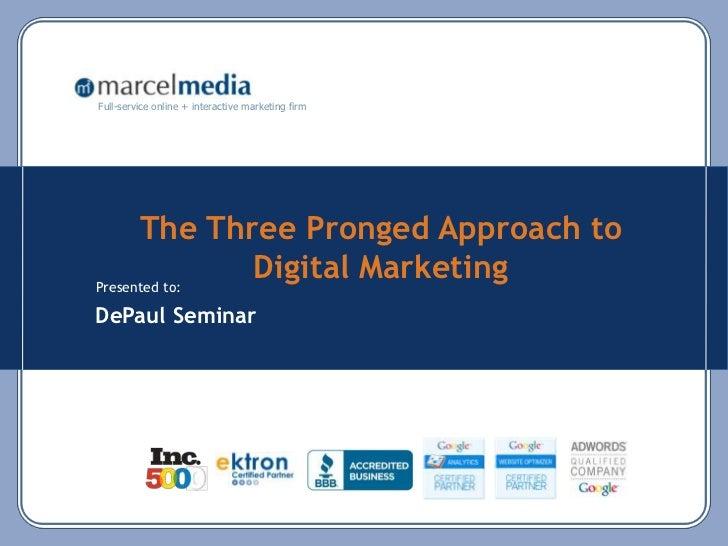 The Three Pronged Approach to Digital Marketing <br />DePaul Seminar <br />
