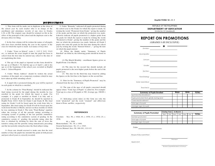 DepEd FORM 18 – E -1                                                       INSTRUCTIONS        1. This form will be made o...
