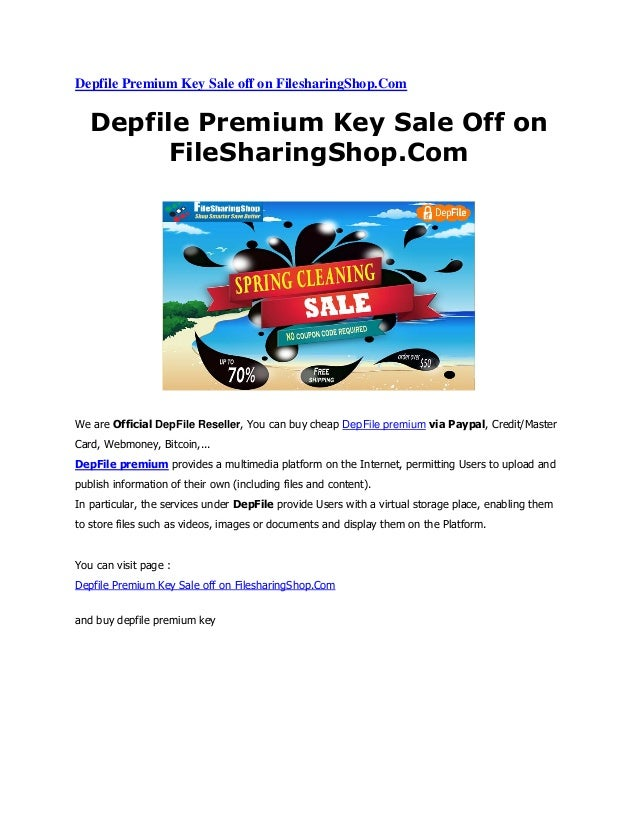Depfile premium key sale off on filesharingshop