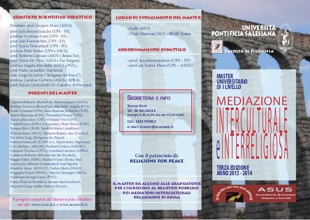 Master mediazione interculturale e interreligiosa 2013