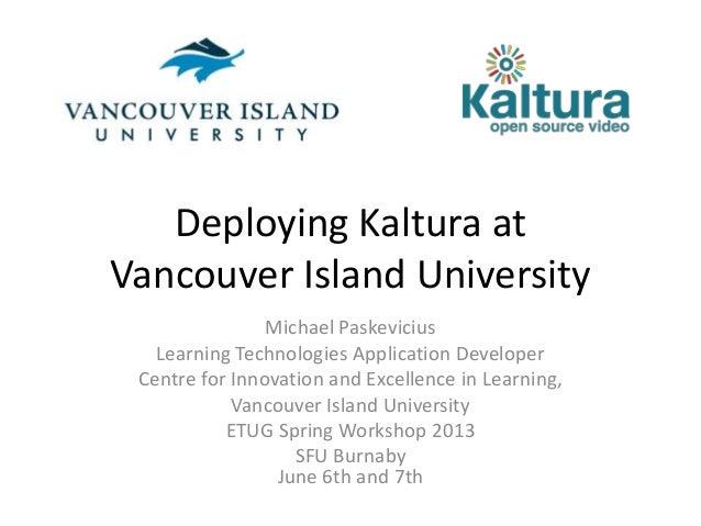 Deploying Kaltura at Vancouver Island University