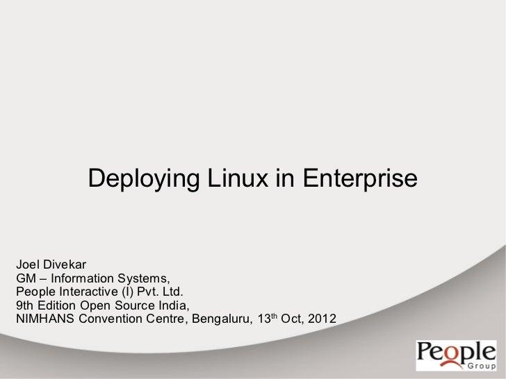 Deploying linux in enterprise