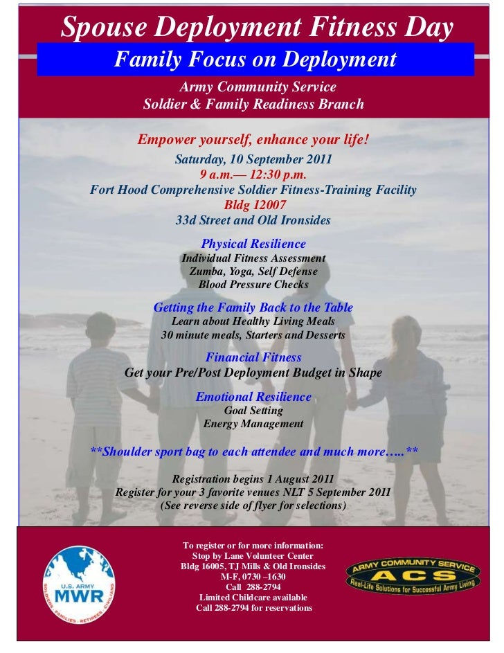 Spouse Deployment Fitness Day      Family Focus on Deployment                 Army Community Service           Soldier & F...