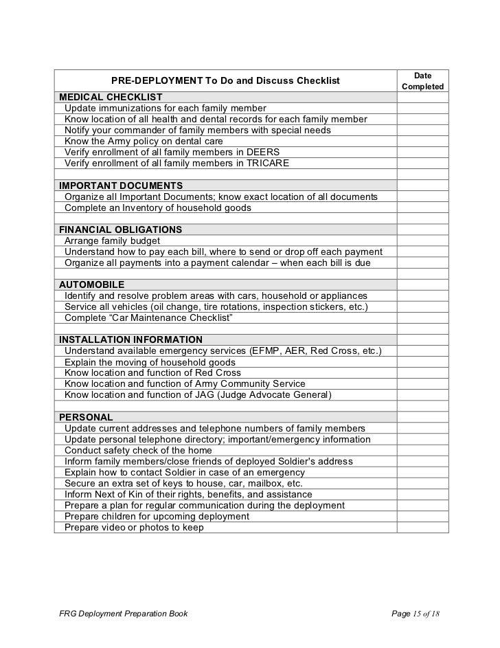 household checklist