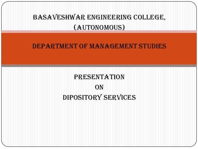 BASAVESHWAR ENGINEERING COLLEGE,         (AUTONOMOUS)DEPARTMENT OF MANAGEMENT STUDIES          PRESENTATION               ...