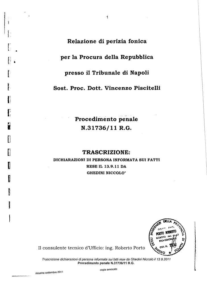 1[                                        Relazione di perizia fonicar       •                                per la Procu...