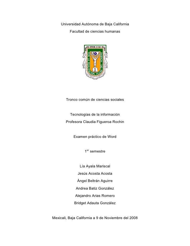 Universidad Autónoma de Baja California           Facultad de ciencias humanas             Tronco común de ciencias social...