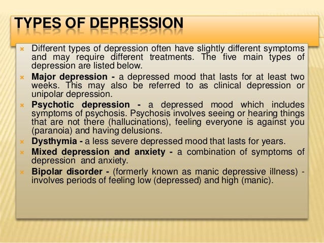 common types of depression Types of depression major depressive disorder, also known as major depression, is characterized by profound symptoms of sadness that impair a person's enjoyment of daily life common signs and symptoms of depression include the following.