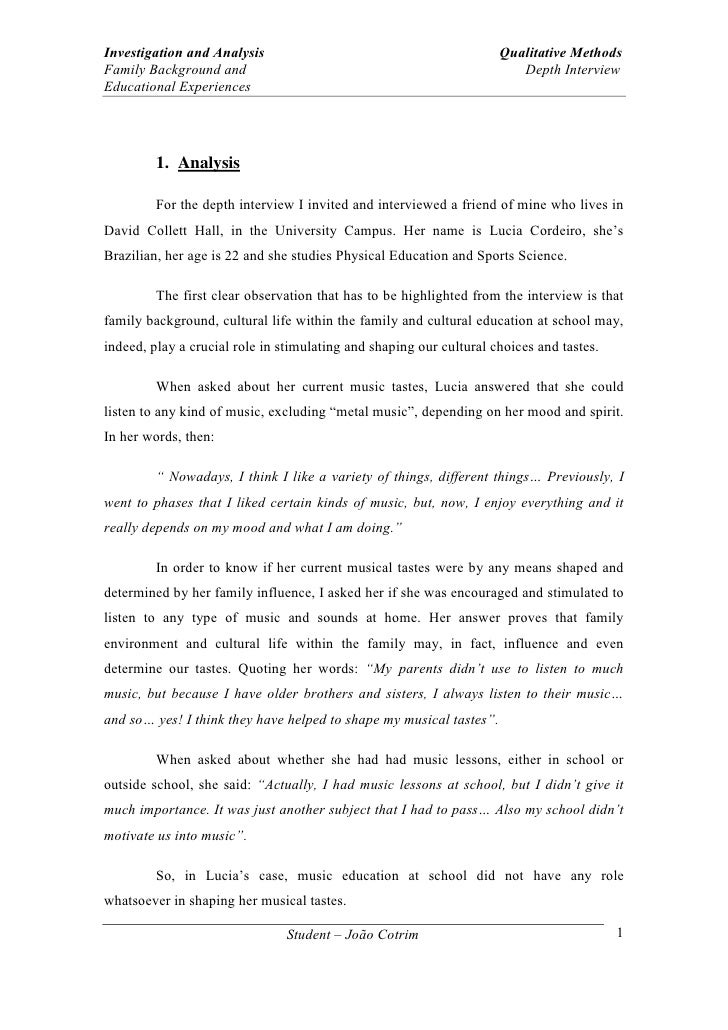 Sample of interview paper