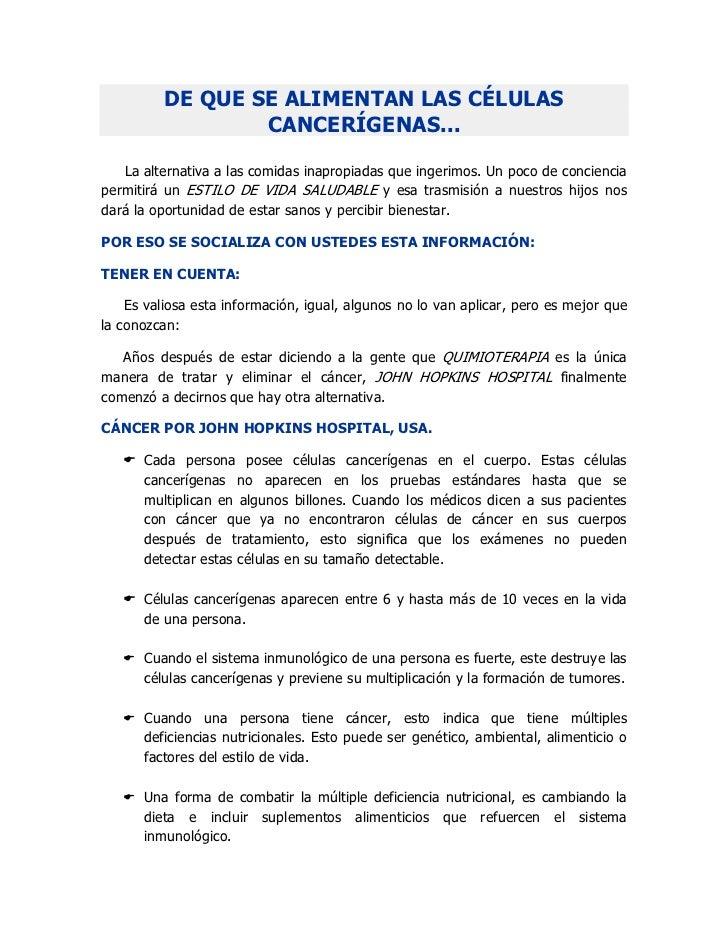 CÉLULAS CANCERÍGENAS: DE QUÉ SE ALIMENTAN