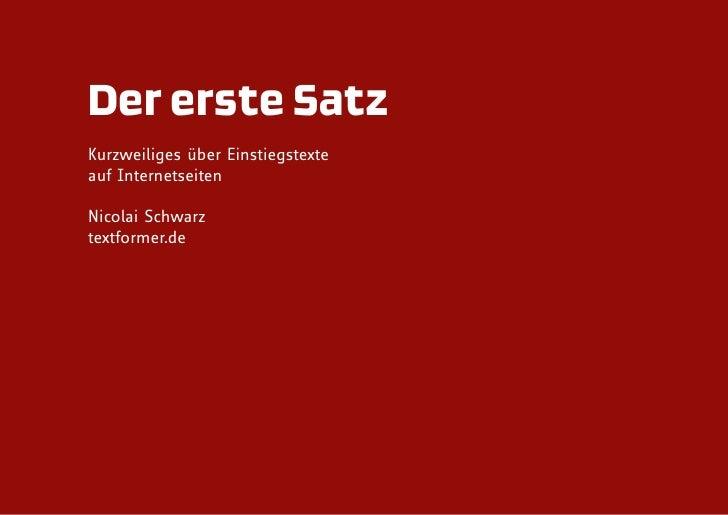 Der erste Satz Kurzweiliges über Einstiegstexte auf Internetseiten  Nicolai Schwarz textformer.de