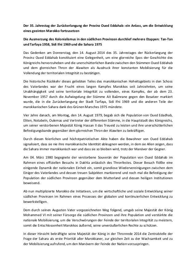 Der 35. Jahrestag der Zurückerlangung der Provinz Oued Eddahab: ein Anlass, um die Entwicklung eines geeinten Marokko fort...
