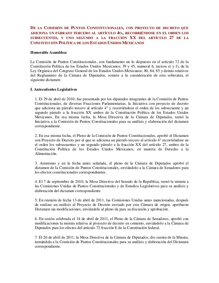 De la Comisión de Puntos Constitucionales, con proyecto de decreto que adiciona un párrafo tercero al artículo 4o., recorr...