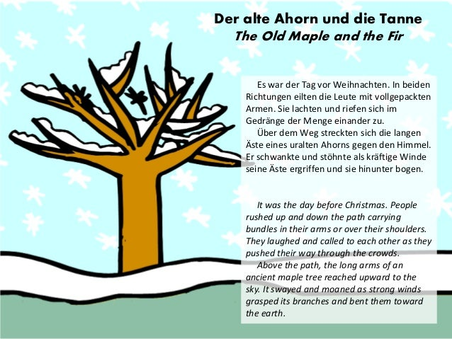 Der alte Ahorn und die Tanne  The Old Maple and the Fir  Es war der Tag vor Weihnachten. In beiden Richtungen eilten die L...