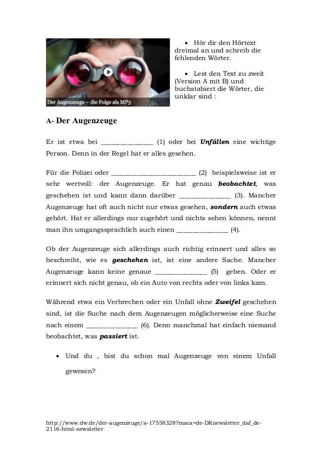 DER AUGENZEUGE - Hörverständnisübung für den 5ten Kurs