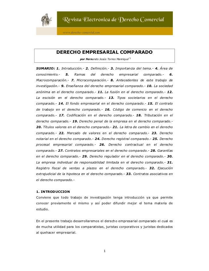 DERECHO EMPRESARIAL COMPARADO                           por Fernando Jesús Torres Manrique(*)SUMARIO: 1. Introducción.- 2....