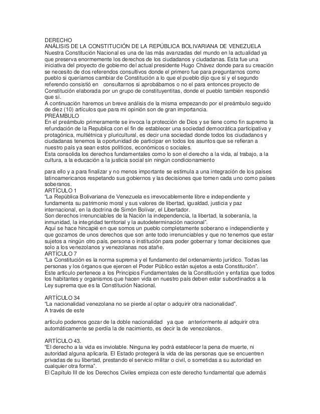 DERECHOANÁLISIS DE LA CONSTITUCIÓN DE LA REPÚBLICA BOLIVARIANA DE VENEZUELANuestra Constitución Nacional es una de las más...