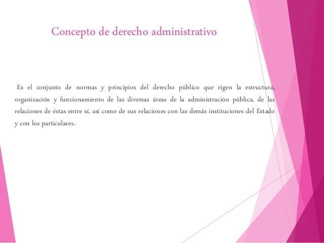 Concepto de derecho administrativo Es el conjunto de normas y principios del derecho público que rigen la estructura, orga...