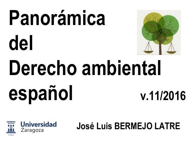 Panorámica del Derecho ambiental  José Luis BERMEJO LATRE Universidad de Zaragoza  v.12/13