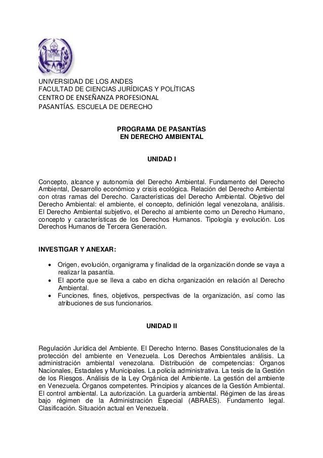 UNIVERSIDAD DE LOS ANDESFACULTAD DE CIENCIAS JURÍDICAS Y POLÍTICASCENTRODEENSEÑANZAPROFESIONALPASANTÍAS.ESCUELA DE DE...
