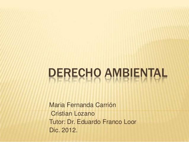 DERECHO AMBIENTALMaria Fernanda CarriónCristian LozanoTutor: Dr. Eduardo Franco LoorDic. 2012.
