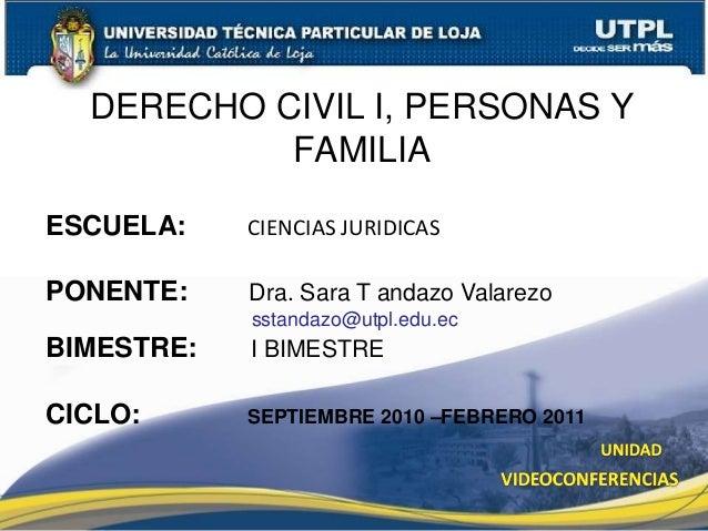 Derecho civil I, personas y familia