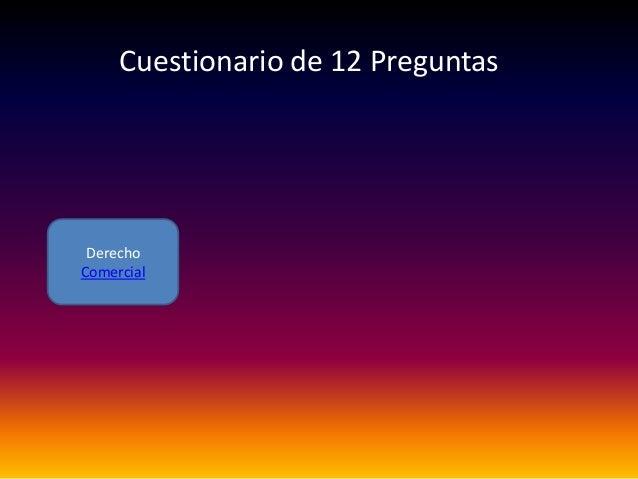 DerechoComercialCuestionario de 12 Preguntas