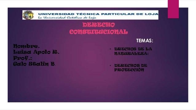 DERECHO CONSTITUCIONAL TEMAS: Nombre. Luisa Apolo R. Prof.: Galo Stalin B.  • DRECHOS DE LA NATURALEZA: • DERECHOS DE PROT...