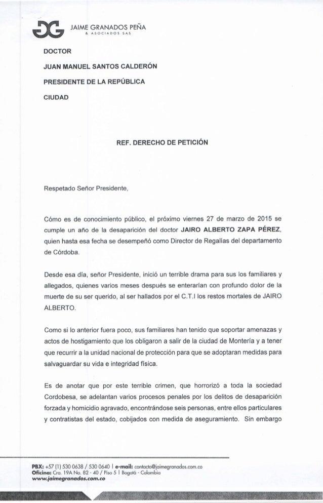 % JAIME GRANADOS PEÑA a.  ASOCIADOS SAS.   DOCTOR JUAN MANUEL SANTOS CALDERÓN PRESIDENTE DE LA REPÚBLICA  CIUDAD  REF.  DE...