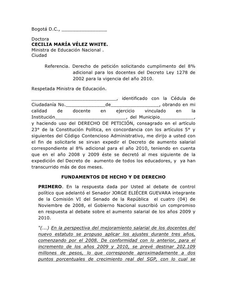 Bogotá D.C., ________________  Doctora CECILIA MARÍA VÉLEZ WHITE. Ministra de Educación Nacional . Ciudad       Referencia...