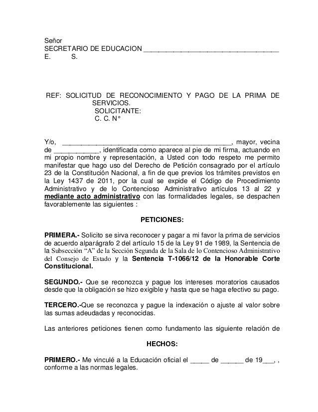 Derecho de peticion prima de servicios