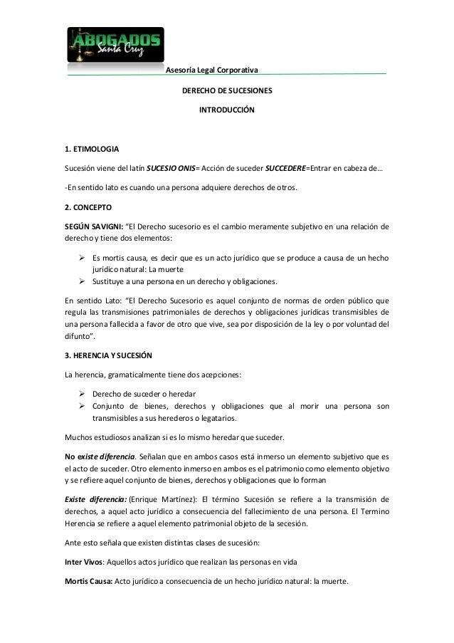 Asesoría Legal Corporativa                                   DERECHO DE SUCESIONES                                        ...