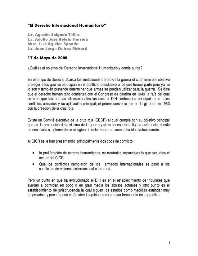 """1 """"El Derecho Internacional Humanitario"""" Lic. Agustín Salgado Téllez Lic. Adolfo José Beteta Herrera Mtro. Luis Aguilar Sp..."""