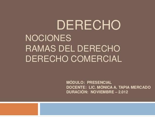 DERECHONOCIONESRAMAS DEL DERECHODERECHO COMERCIAL       MÓDULO: PRESENCIAL       DOCENTE: LIC. MÓNICA A. TAPIA MERCADO    ...
