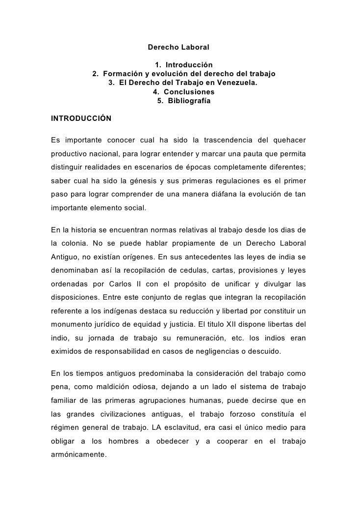 Derecho Laboral                            1. Introducción            2. Formación y evolución del derecho del trabajo    ...