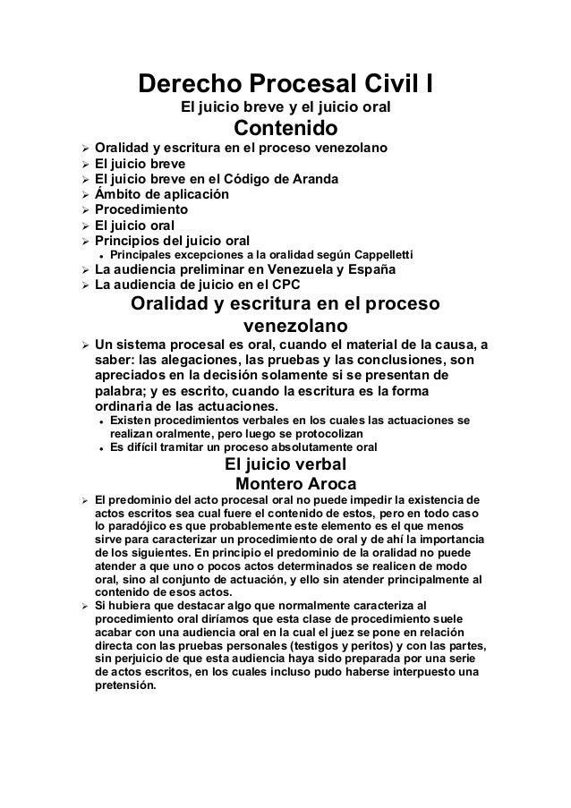 Derecho Procesal Civil I El juicio breve y el juicio oral  Contenido         Oralidad y escritura en el proceso ven...