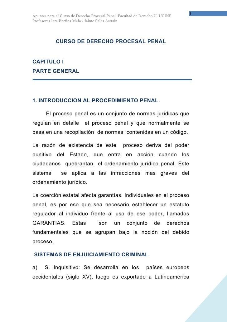 1 Apuntes para el Curso de Derecho Procesal Penal. Facultad de Derecho U. UCINF Profesores Iara Barrios Melo / Jaime Salas...