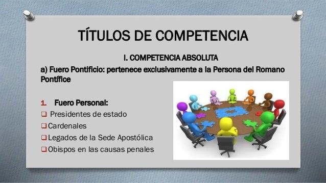 TÍTULOS DE COMPETENCIA I. COMPETENCIA ABSOLUTA a) Fuero Pontificio: pertenece exclusivamente a la Persona del Romano Pontí...