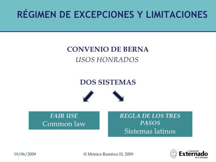 RÉGIMEN DE EXCEPCIONES Y LIMITACIONES<br />FAIR USE<br />Commonlaw<br />REGLA DE LOS TRES PASOS<br />Sistemas latinos<br /...