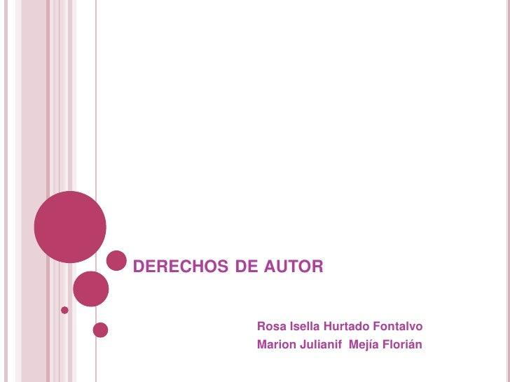 derechos de autor<br />                                     Rosa Isella Hurtado Fontalvo<br />                            ...