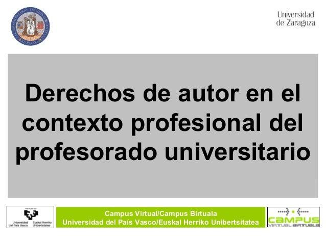Derechos de autor en el contexto profesional del profesorado universitario